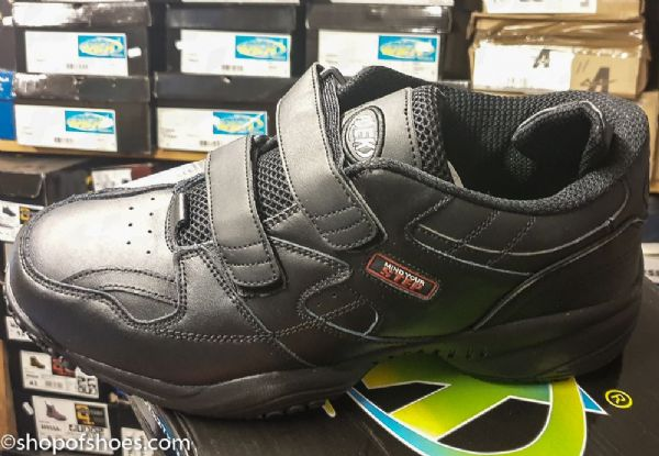 Wide Fitting slip and oil resistant black leather velcro non safety trainer